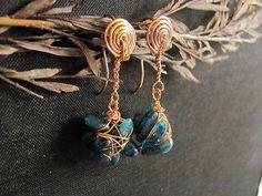 Kyanite nuggets Earrings. Rustic Aqua Blue kyanite by MADAMBLUEONE, €14.95