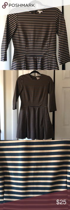 Striped Dress - size 4 Brown and black fall/winter weight dress cotton, spandex Back zip GAP Dresses Long Sleeve Gap Dress, Fashion Tips, Fashion Design, Fashion Trends, Striped Dress, Fall Winter, Ruffle Blouse, Spandex, Zip