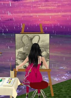 Captured Inside IMVU - Join the Fun! this looks like a woman painting vazesand fruits on a table behind another painting of a rain storm hiting the beach sand while watching the waves of the ocean