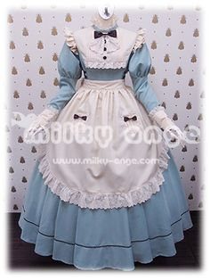 Classic style maid Clarice Long Icy Blue