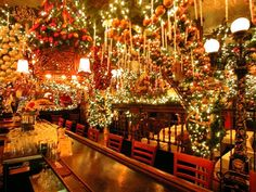 "delirious kitchen: Rolf's (New York City) - Known for their decor.  ""What would normally be construed as tacky (thousands of lights, artificial garlands, ornaments and ribbons) actually looks beautiful in the extreme abundance."""