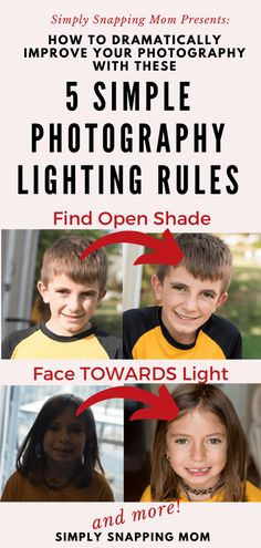 Lighting is SO important for photography. These 5 simple lighting rules can help you improve your photography and dramatically upgrade your pictures from blah to wow! Great for beginner photographers Photography Rules, Improve Photography, Photography Lessons, Photography For Beginners, Phone Photography, Light Photography, Photography Tutorials, Digital Photography, Portrait Photography