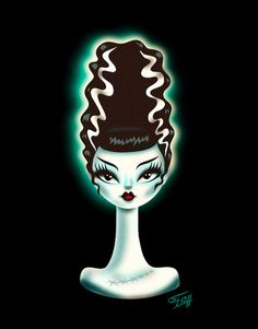 A fantastical art print on Archival glossy Crystal Fuji photo paper featuring the Bride of Frankenstein Miss Fluff style! Original artwork by Claudette Barjoud, a. Miss Fluff Miss Fluff, Bride Of Frankenstein, Halloween Art, Artist At Work, All Print, Painted Rocks, Canvas Prints, Rock Painting, Frankenstein's Monster