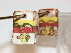 Set of 2 ethnic incas rectangle connectors par CeramicBeadsArt