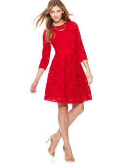 TAYLOR Three-Quarter Sleeve Lace Dress, Scarlet