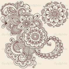 Henna Mehndi Tattoo Doodles Vector Design Elements — Stock Vector #8693168
