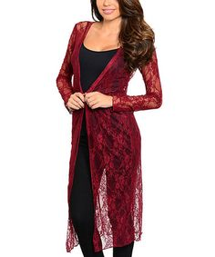 Loving this Burgundy Lace Open Cardigan on #zulily! #zulilyfinds