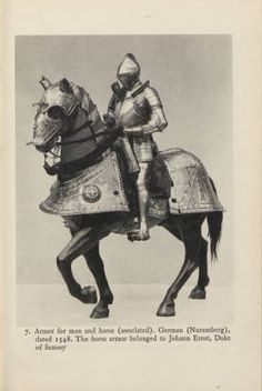Historical arms and armor: twenty plates, 1935.  Metropolitan Museum of Art Publications. The Metropolitan Museum of Art, New York. Thomas J. Watson Library (b10400552) | German armor dated 1548 belong to Johann Ernst, Duke of Saxony #Armor