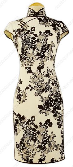 black and white chrysanthemum qipao