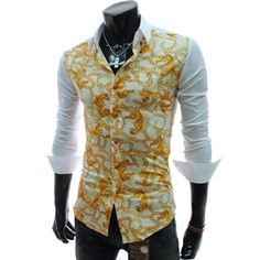 (CE59-YELLOW) Slim Fit Front Pattern Long Sleeve Stretchy Shirts