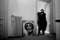 Federico Fellini in the doorway of his office, Rome, 1987 -by Luc Roux