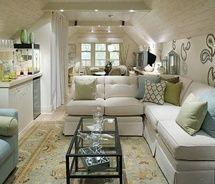 Cosy room, cool tones