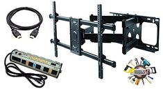 ELITE MOUNT – Heavy Duty Dual Arm Articulating Wall Mount + Surge Protector + High Speed HDMI Cable…