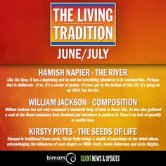 The latest issue of The Living Tradition reviews Hamish Napier, Kirsty Potts and William Jackson, as well as The Paul McKenna Band, Gillian Frame, Rachel Newton Music and Claire Hastings.  Available now from all good newsagents.  http://www.livingtradition.co.uk/