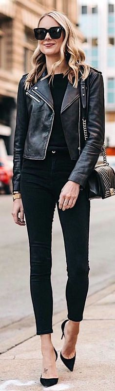 #winter #outfits  black leather zip-up jacket and fitted pants outfit. Pic by @fashion_jackson.