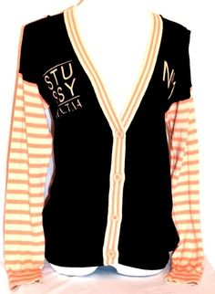 STUSSY Men's Black/Orange/Beige Half-Button-Down Long-Sleeve Cardigan Sweater M #Cardigan