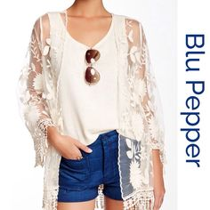 Host PickGorgeous Sheer Crochet Kimono Jacket Perfect to wear over shorts, jeans or dresses, 3/4 sleeves with fringe trim... Blu Pepper Other