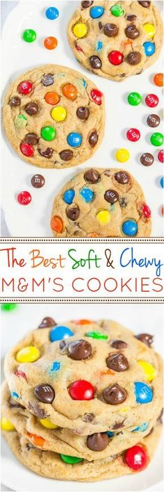 The Best Soft and Chewy M&M'S Cookies - Big, bakery-style cookies you can make at home that are BETTER than the bakery's! An easy recipe for the classic cookies everyone loves! Made large cookies cooked for 17 minutes Just Desserts, Delicious Desserts, Dessert Recipes, Yummy Food, Delicious Chocolate, Yummy Cookies, Cookies Soft, Shortbread Cookies, M M Cookies
