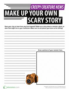 scary story card game worksheets english class and creative writing make your own scary story