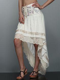 Print High-Low Asymmetric Skirt, OFF WHITE, M in Dresses 2017