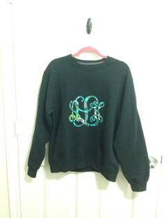 Custom Made Monogram Sweatshirt (Made with Vera Bradley or Other Fabric) on Etsy, $35.00