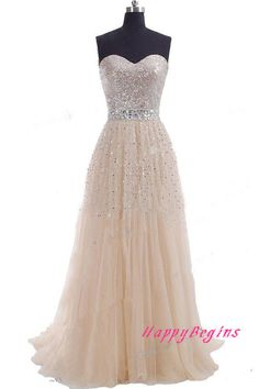 Custom Made Silver Sequin Long Prom Dress Long by HappyBegins, $139.00