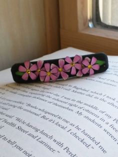 Pink and White Flower Barrette Floral Hair Accessory by EmilyMah