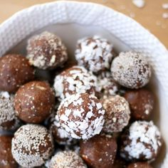 """Almond Joy Energy Bites From @vegukate  Makes 28-30 energy balls.  1 1/2 cup almonds (reserve 1/4 cup). 14 Medjool dates, pits removed. 1 Tbs coconut oil,…"""