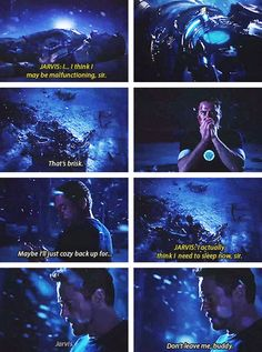 """""""Jarvis...don't leave me, buddy."""" aww my heart melted at this bit. jarvis is more than a machine"""