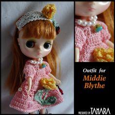 Crochet for Middy Blythe ミディブライス お洋服 レース編みワンピテントウムシ