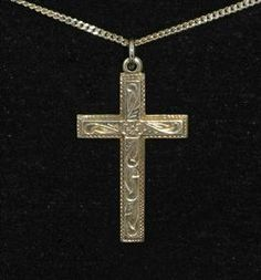 Beautiful Silver Victorian Antique Cross & Chain
