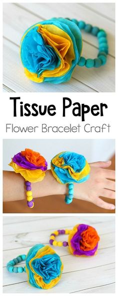 Tissue Paper Flower Bracelet Craft for moms Kids: Make these colorful tissue paper flower bracelets (or corsages) for Mother's Day, Cinco de Mayo or just for fun! Perfect for spring, birthday party, or bridal shower too! ~ BuggyandBuddy.com