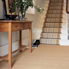 Blue walls. white wood. stripy stairs. plain carpet. this is exactly what i want.Kenilworth Gold Runner B