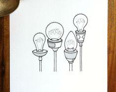 obras de arte originales - 'llegar' - mano dibujado bombillas ilustración - dibujo en blanco y negro simple bombilla