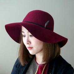 7c05c29a916 Plain gray wool floppy hat for women metal feather felt hat wide brim