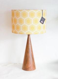 "Room Salvation : Rachels Lounge. #salvationjane #roomsalvation  Lamp Shade - 14"" Drum - Gold / Yellow Geometric Honeycomb - Organic Cotton Sateen - Washer Top / Harp Fitting by Organic @Luvocracy |"