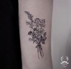 hell, i love how delicate and detailed this floral tattoo is!holy hell, i love how delicate and detailed this floral tattoo is! Flower Bouquet Tattoo, Birth Flower Tattoos, Small Flower Tattoos, Small Tattoos, Tattoo Flowers, Floral Tattoos, Tattoo Ideas Flower, Inner Elbow Tattoos, Boquette Flowers