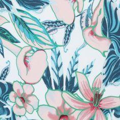 Tissu viscose thème hibiscus