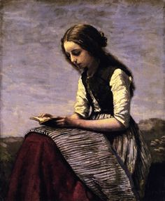 Girl Reading (also known as Seated Shepherdess Reading) Jean-Baptiste-Camille Corot - circa 1855-1861