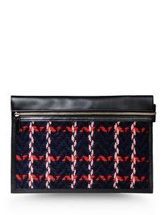This bag has tweed,logo detail,multicolour Pattern,zip closure,lined interior.