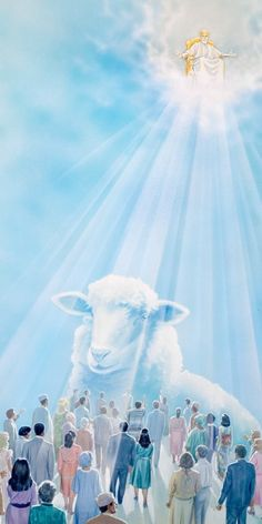 Jesus sits on his glorious throne and judges his faithful people as the holy spotless Lamb of God.HD.