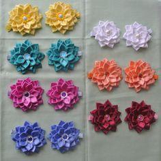 Pair of Handmade Dahlia Flowers hair clips made by BeautifulRibbon