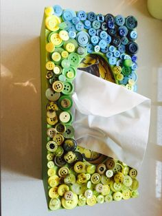 Green and blue button tissue box