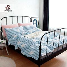 ParkShin Nordic Style Bedding Sets 100% Cotton Duvet Cover Set Light Blue Striped Bed Sheet Star Bed Linen 4pcs Queen King Size