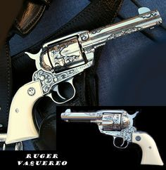 Ruger Vaquero, custom engraving by J. R. FrenchLoading that magazine is a pain! Get your Magazine speedloader today! http://www.amazon.com/shops/raeind