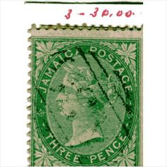 QV Jamaica 1d Green (SG3) used with light cancel