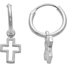 Itsy Bitsy Sterling Silver Cross Charm Hoop Earrings (640 ARS) ❤ liked on Polyvore featuring jewelry, earrings, grey, itsy bitsy jewelry, polish jewelry, itsy bitsy earrings, grey jewelry and cross pendant jewelry