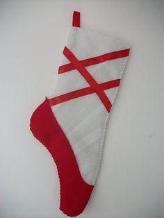 Homemade Ballerina Slipper Christmas Stocking - Red - Photo