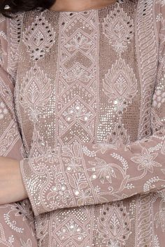 Hazelnut Chikankari And Kamdani Peshwa Floor Length Suit Pakistani Party Wear Dresses, Designer Party Wear Dresses, Pakistani Bridal Dresses, Pakistani Dress Design, Pakistani Outfits, Indian Outfits, Wedding Lehenga Designs, Kurti Designs Party Wear, Embroidery Suits Design