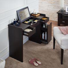 Furniture of America Maggie Contemporary Espresso Multi-Storage Vanity with Mirror
